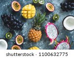 tropical fruits  exotic fruits... | Shutterstock . vector #1100632775