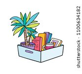 office cardboard box with stuff ... | Shutterstock .eps vector #1100634182