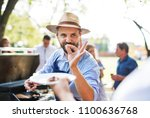 family celebration or a... | Shutterstock . vector #1100636768