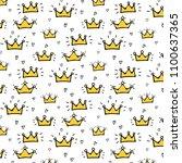 hand drawn crown vector pattern ... | Shutterstock .eps vector #1100637365