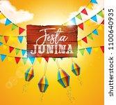 festa junina illustration with... | Shutterstock .eps vector #1100640935