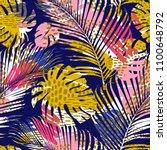 trendy seamless exotic pattern... | Shutterstock .eps vector #1100648792