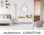 scandinavian style white room... | Shutterstock . vector #1100657168