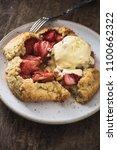 Small photo of Strawberry Rustic Tart with Vanilla Ice Cream