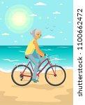 senior woman on bike with... | Shutterstock .eps vector #1100662472