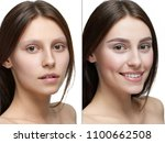 comparison of a girl with make... | Shutterstock . vector #1100662508