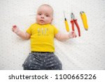 adorable baby wearing t shirt... | Shutterstock . vector #1100665226