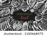 vector frame for farm market... | Shutterstock .eps vector #1100668475