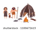 family of ancient people ... | Shutterstock .eps vector #1100672615