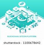 blockchain and bitcoin platform ... | Shutterstock .eps vector #1100678642