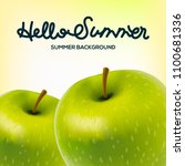 hello summer poster with apples ... | Shutterstock .eps vector #1100681336