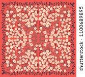 unusual scarf floral print....   Shutterstock . vector #1100689895