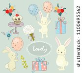 set with cute rabbits  flowers  ... | Shutterstock .eps vector #1100695562