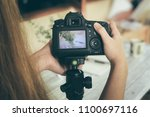 girl using photography of... | Shutterstock . vector #1100697116