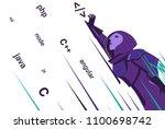 astronaut caught code in open... | Shutterstock .eps vector #1100698742