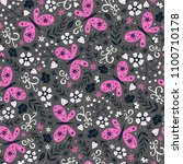 colorful folk vector seamless... | Shutterstock .eps vector #1100710178