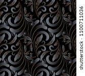 dark black 3d vintage floral... | Shutterstock .eps vector #1100711036