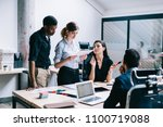 male and female employees... | Shutterstock . vector #1100719088