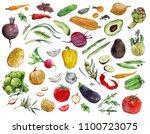 watercolor set of avocado ... | Shutterstock . vector #1100723075