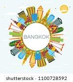 bangkok thailand skyline with... | Shutterstock .eps vector #1100728592