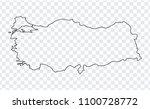 blank map turkey. thin line map ... | Shutterstock .eps vector #1100728772