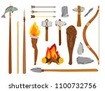 cartoon stone age tools.... | Shutterstock .eps vector #1100732756
