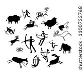 cave painting. stone paintings... | Shutterstock .eps vector #1100732768