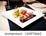 roasted duck with pear... | Shutterstock . vector #110073662