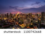 scenic of night cityscape with... | Shutterstock . vector #1100742668