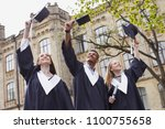 mortarboards in the air. three...   Shutterstock . vector #1100755658