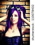 portrait of a punk girl posing... | Shutterstock . vector #110078432