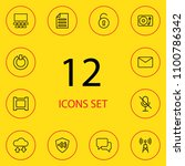 set of 12 media icons line... | Shutterstock . vector #1100786342