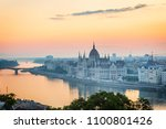 sunrise over budapest skyline ... | Shutterstock . vector #1100801426