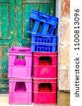 old bottle cases in front of...   Shutterstock . vector #1100813096