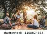 group of friends making... | Shutterstock . vector #1100824835