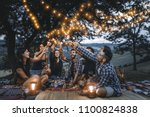 group of friends making... | Shutterstock . vector #1100824838