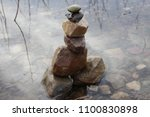 close up inuksuk. piled stones... | Shutterstock . vector #1100830898