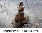 Close Up Inuksuk. Piled Stones...
