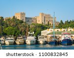 boats in front of grand master... | Shutterstock . vector #1100832845