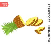 pineapple realistic fruit with... | Shutterstock .eps vector #1100835635