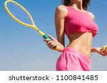 girl holding racket. sexy... | Shutterstock . vector #1100841485