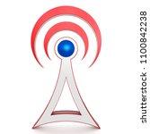 3d network tower sign  antenna... | Shutterstock . vector #1100842238