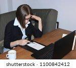 business woman. worker. sad... | Shutterstock . vector #1100842412