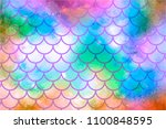 Bright Colorful Mermaid Scales. ...