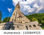 vaduz cathedral of saint florin ... | Shutterstock . vector #1100849525