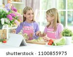 two girls in aprons preparing... | Shutterstock . vector #1100855975