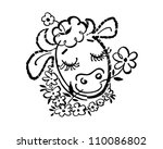 happy cow   retro clipart... | Shutterstock .eps vector #110086802