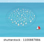 boat with red spinnaker sail... | Shutterstock .eps vector #1100887886