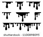 dripping liquid. paint flows.... | Shutterstock .eps vector #1100898095