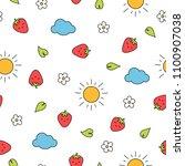 summer strawberry seamless... | Shutterstock .eps vector #1100907038